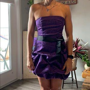 Purple puff cocktail dress